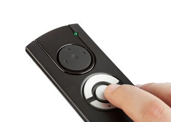 Remote control with blank buttons in hand