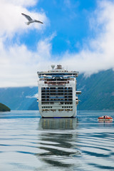 Ship in Geiranger fjord - Norway