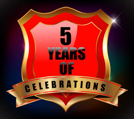 5 years anniversary golden celebration label badge
