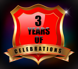 3 years anniversary golden celebration label badge
