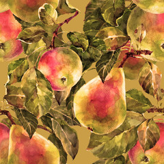 Apples and pears, pattern on a ocher background
