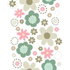 róż turkus brąz kwiaty i kropki pionowy border na białym tle
