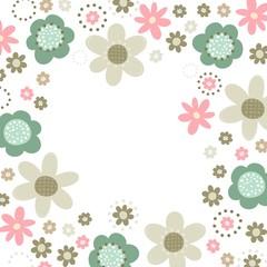 róż turkus brąz kwiaty i kropki rama na białym tle