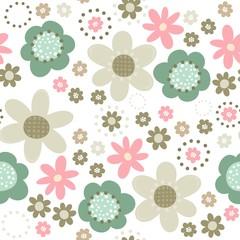 róż turkus brąz kwiaty i kropki deseń na białym tle