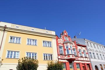 Historische Fassaden in der Altstadt von Nikolsburg (Mikulov)