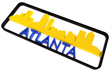 Atlanta base colors of the flag of the city 3D design