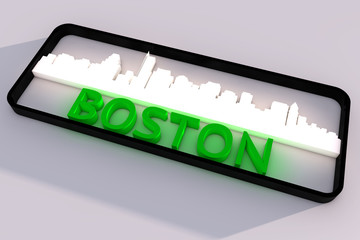Boston base colors of the flag of the city 3D design