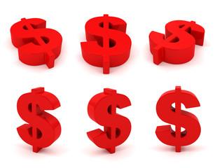 Set of 3D dollar sign