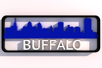 Buffalo base colors of the flag of the city 3D design