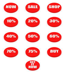 Set of sale and discount buttons
