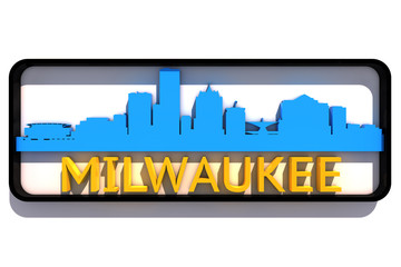 Milwaukee base colors of the flag of the city 3D design