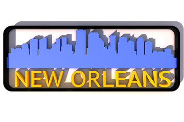 New Orleans base colors of the flag of the city 3D design