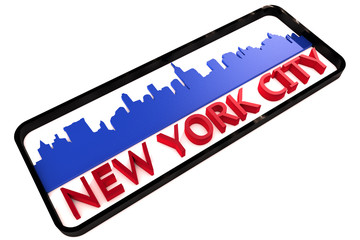 New York City base colors of the flag of the city 3D design
