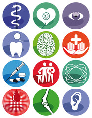 Medizinische Zeichen auf weißem Hintergrund