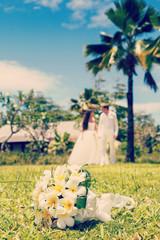 wedding bouquet of frangipani