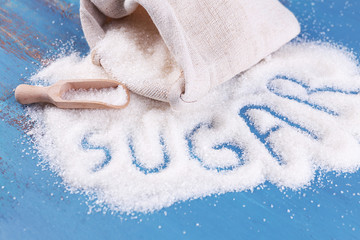 Inscription sugar made of white granulated sugar