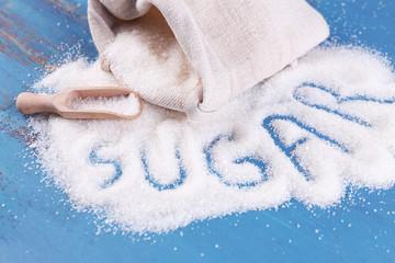 Inscription sugar made of white granulated sugar