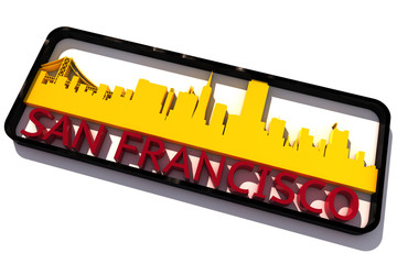 San Francisco base colors of the flag of the city 3D design