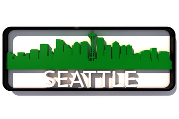 Seattle base colors of the flag of the city on white 3D design
