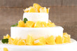 canvas print picture - Beautiful wedding cake with oranges on  wooden background