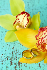Wedding rings and orchid flowers, close-up,