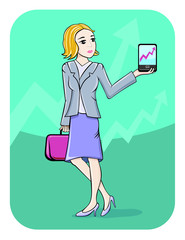 Businesswoman showing graph on smartphone screen