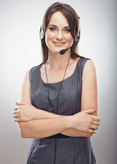 Customer service operator. Young woman in business.