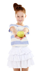 Beautiful little girl holding apple isolated on white