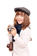 beautiful little girl photographer with old camera