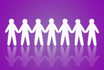 team of paper people on violet background