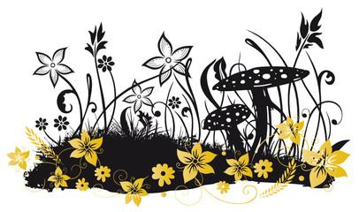 Blumenwiese, Herbst, Pilze