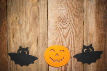 Halloween background on a wooden table