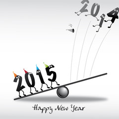 2015 Happy New Year Greeting Card, Zahlen, Katapult