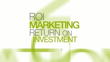 Marketing Return on Investment ROI words tag cloud animation