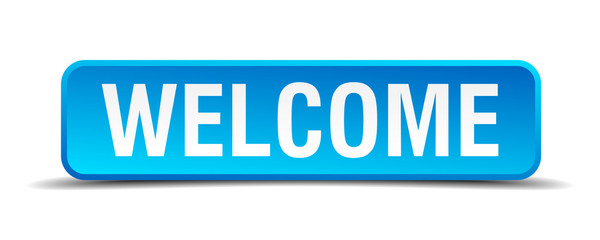 Welcome blue 3d realistic square isolated button