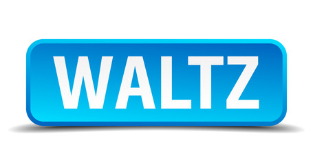Waltz blue 3d realistic square isolated button