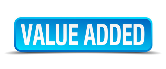 value added blue 3d realistic square isolated button