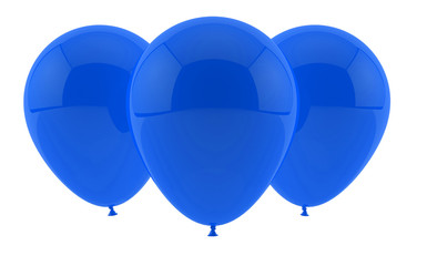 three blue party balloons