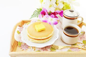 パンケーキとコーヒー