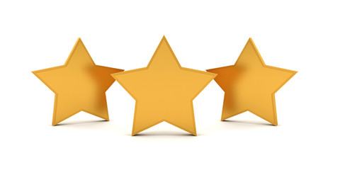 3D three gold stars
