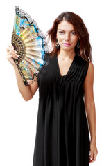 Spanish woman with a fan and black dress