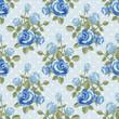Obrazy na płótnie, fototapety, zdjęcia, fotoobrazy drukowane : Seamless pattern with blue roses