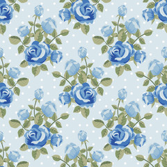 Seamless pattern with blue roses