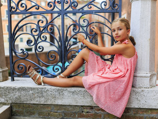 Portrait of fashion girl in Venice, Italy