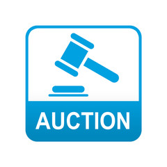Etiqueta tipo app azul AUCTION
