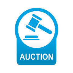 Etiqueta tipo app azul redonda AUCTION