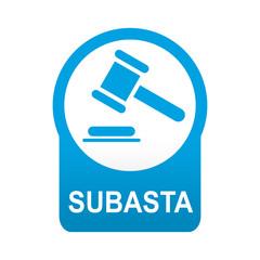 Etiqueta tipo app azul redonda SUBASTA