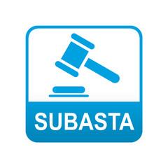Etiqueta tipo app azul SUBASTA