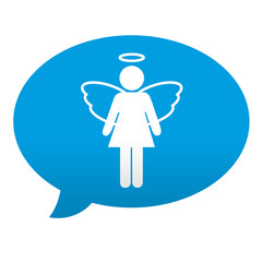 Etiqueta tipo app azul comentario simbolo angel femenino