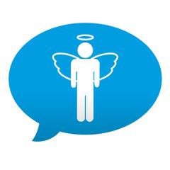 Etiqueta tipo app azul comentario simbolo angel masculino